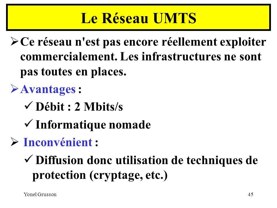 Le Réseau UMTS Ce réseau n est pas encore réellement exploiter commercialement. Les infrastructures ne sont pas toutes en places.