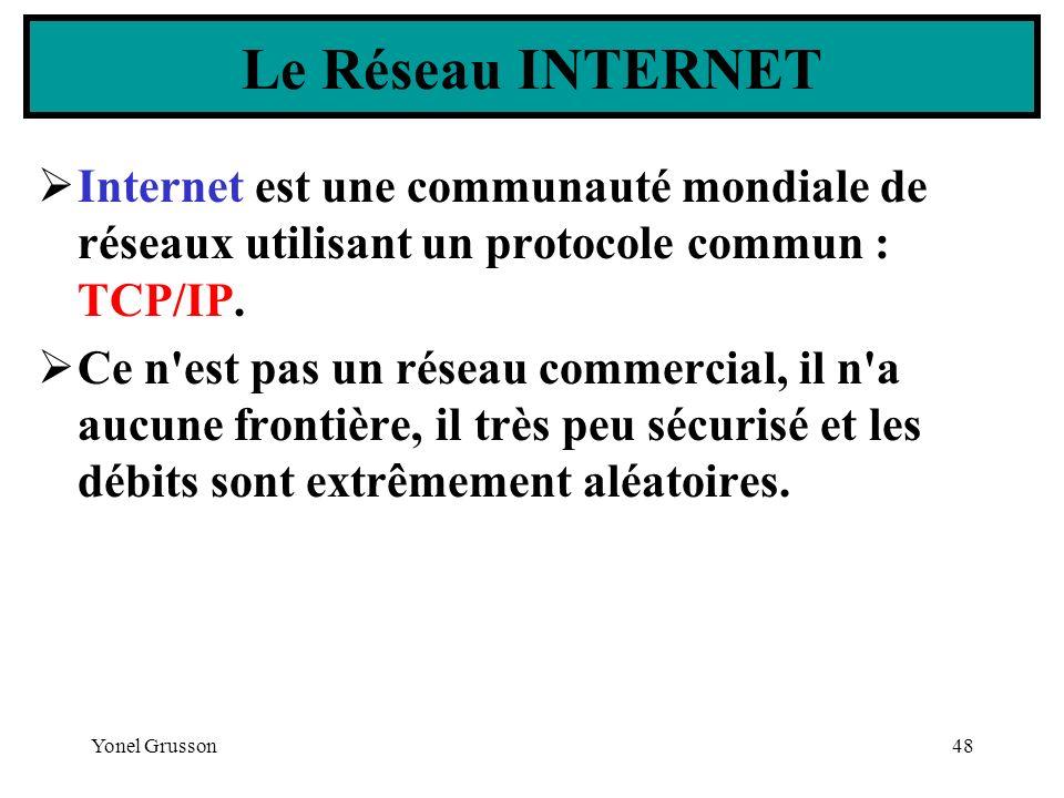 Le Réseau INTERNET Internet est une communauté mondiale de réseaux utilisant un protocole commun : TCP/IP.