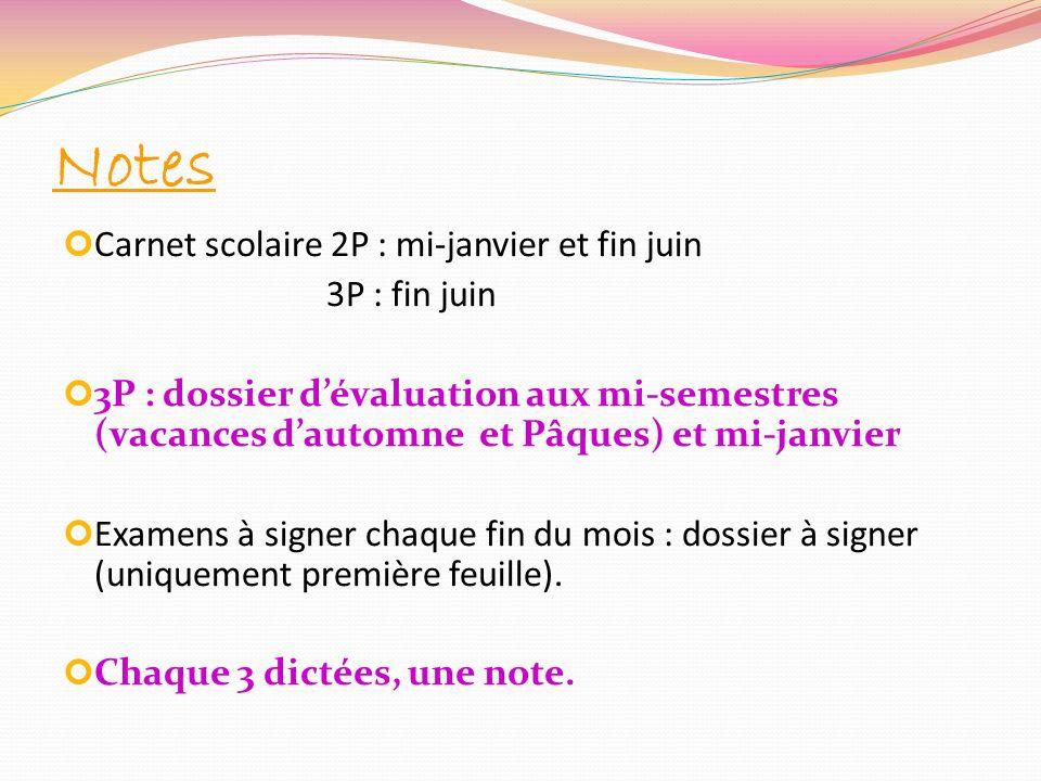 Notes Carnet scolaire 2P : mi-janvier et fin juin 3P : fin juin