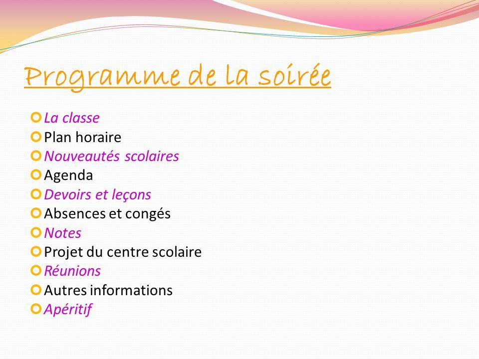 Programme de la soirée La classe Plan horaire Nouveautés scolaires