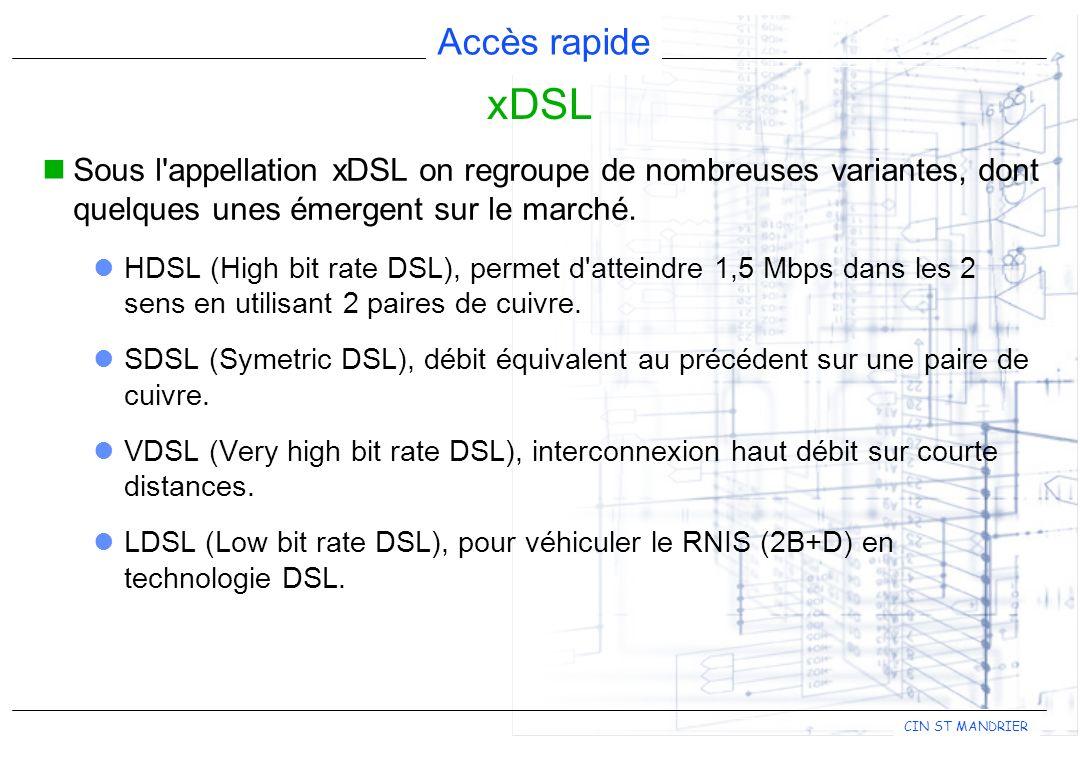 xDSL Sous l appellation xDSL on regroupe de nombreuses variantes, dont quelques unes émergent sur le marché.