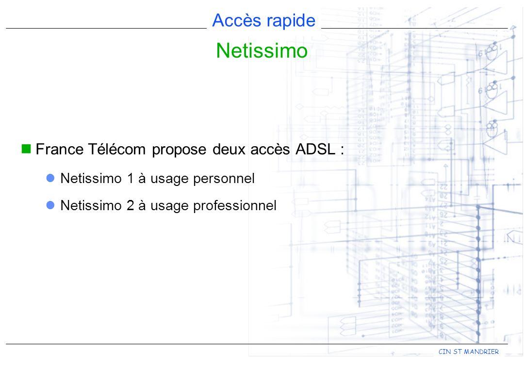 Netissimo France Télécom propose deux accès ADSL :