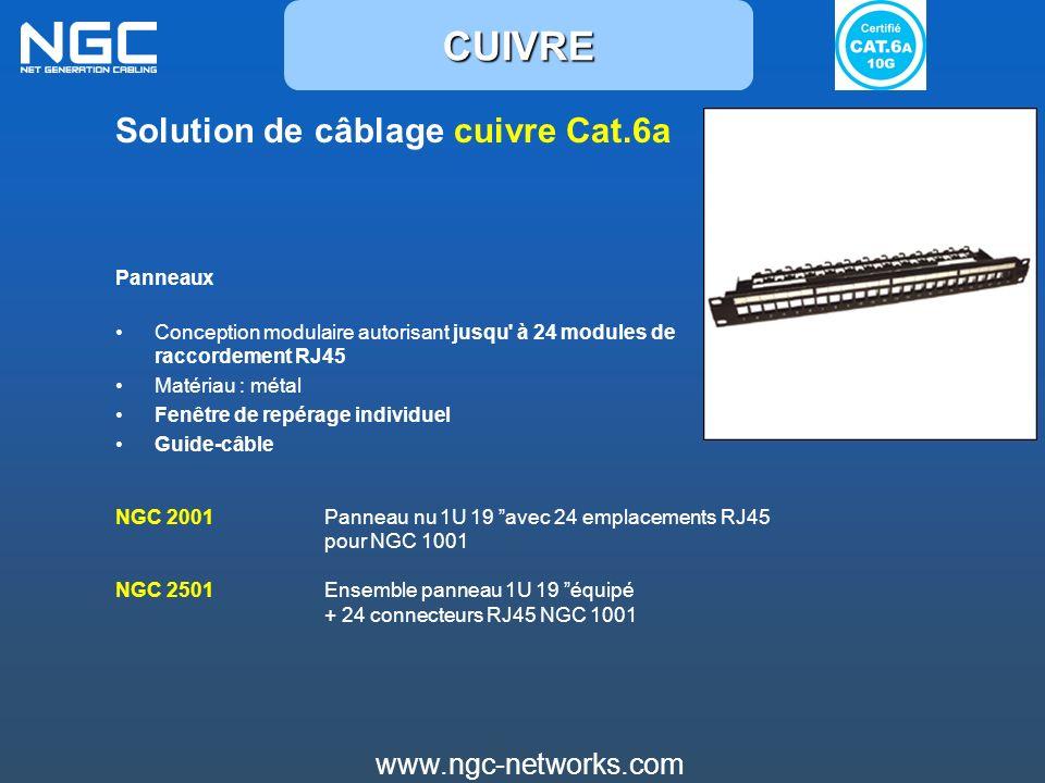 CUIVRE Solution de câblage cuivre Cat.6a www.ngc-networks.com Panneaux