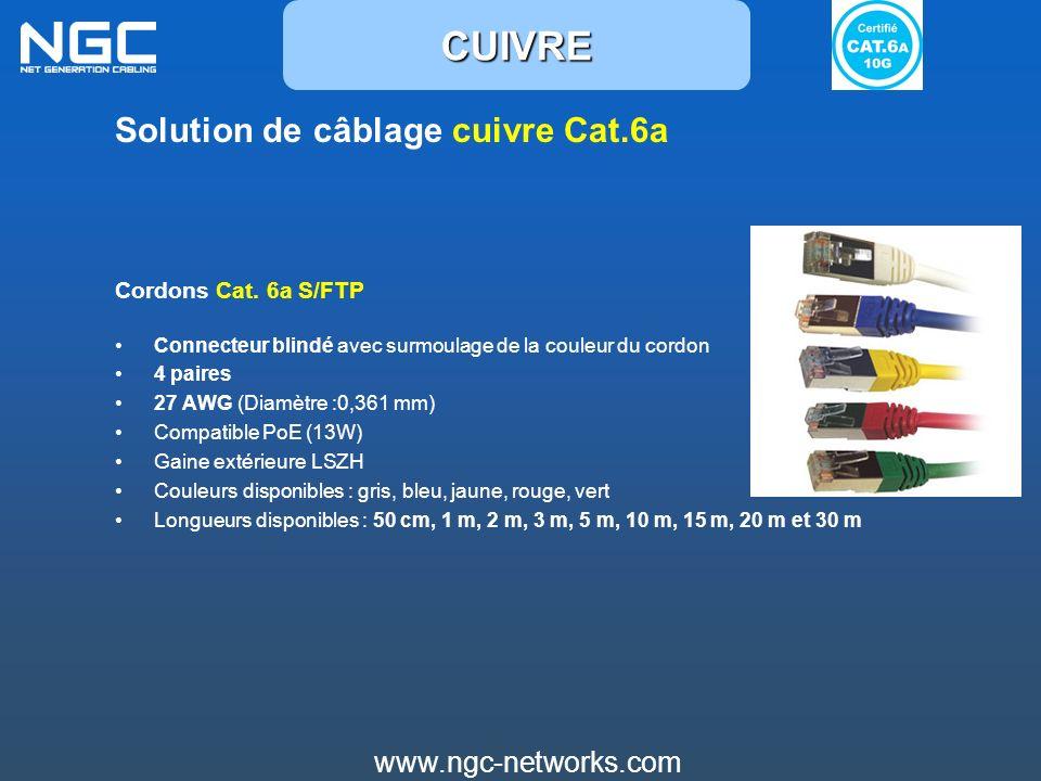 CUIVRE Solution de câblage cuivre Cat.6a www.ngc-networks.com