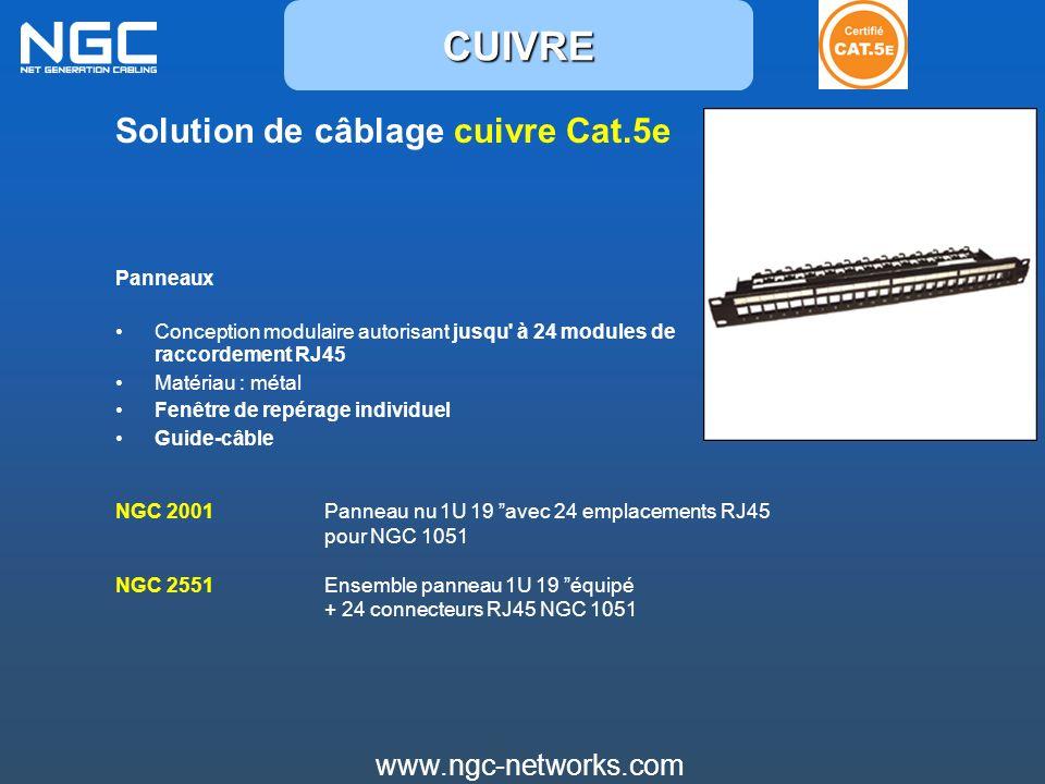 CUIVRE Solution de câblage cuivre Cat.5e www.ngc-networks.com Panneaux