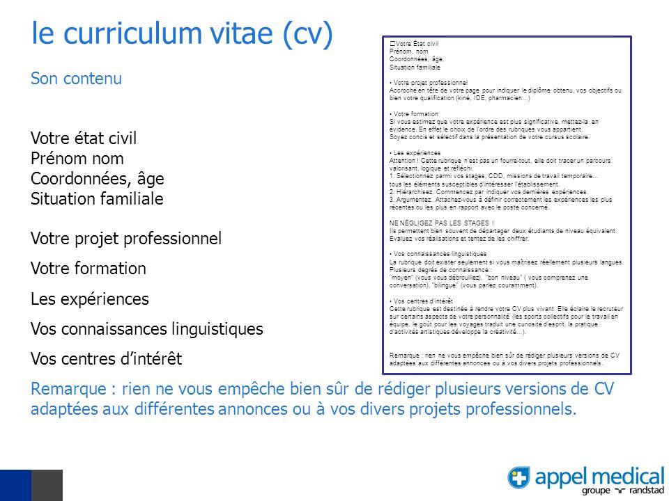le curriculum vitae (cv)