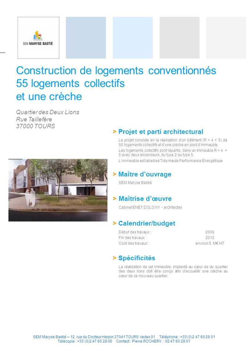 Construction de logements conventionnés 55 logements collectifs