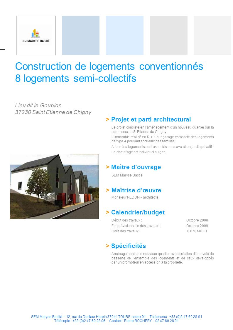 Construction de logements conventionnés 8 logements semi-collectifs