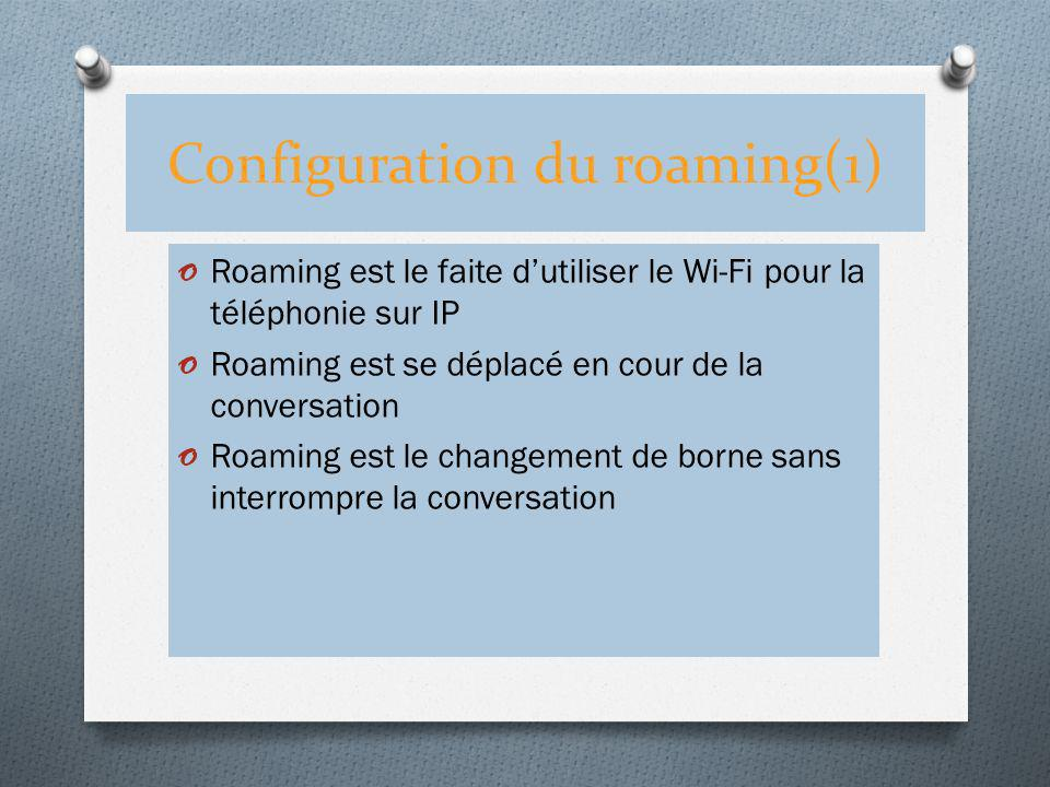 Configuration du roaming(1)
