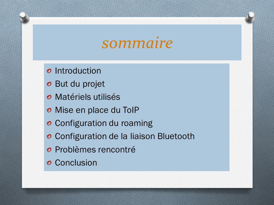 sommaire Introduction But du projet Matériels utilisés