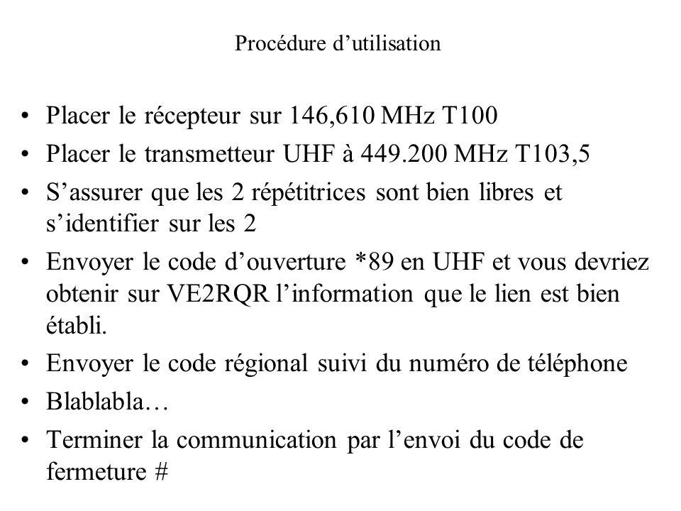 Placer le récepteur sur 146,610 MHz T100