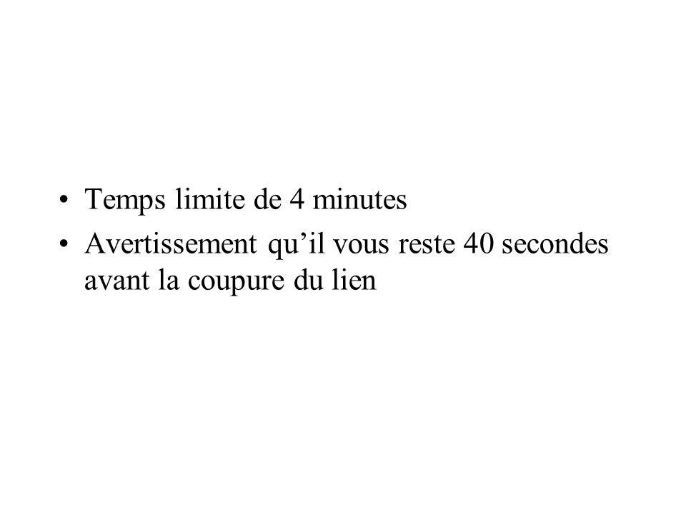 Temps limite de 4 minutes