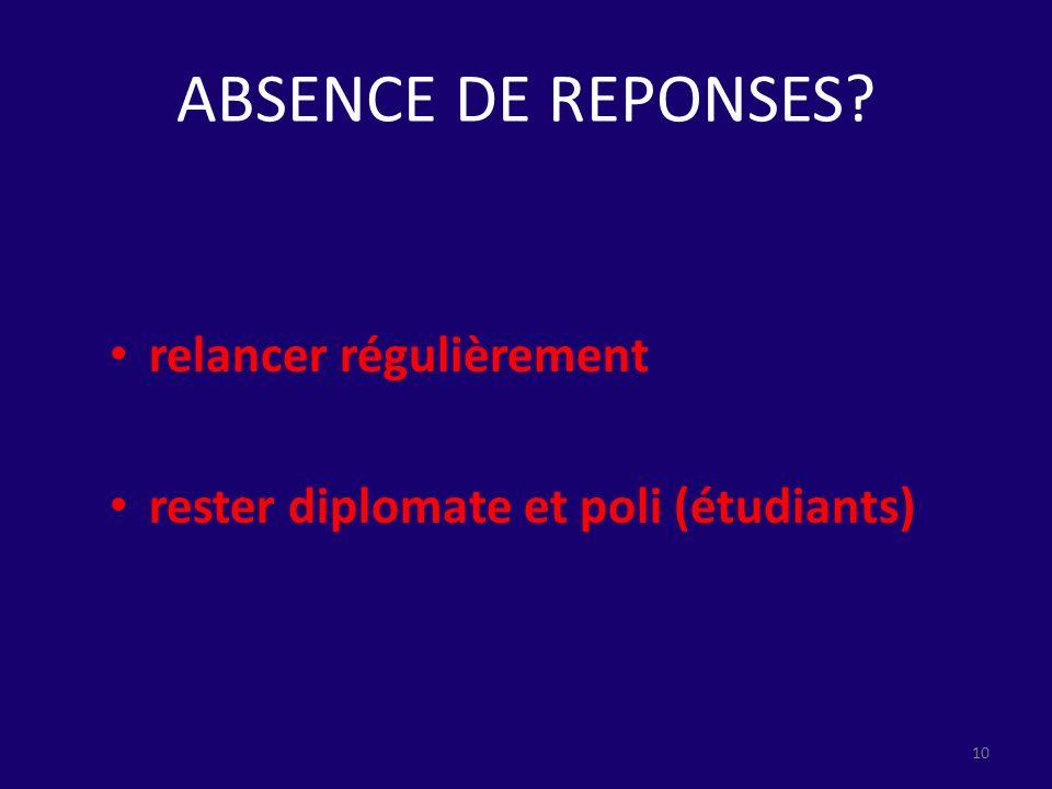 ABSENCE DE REPONSES relancer régulièrement