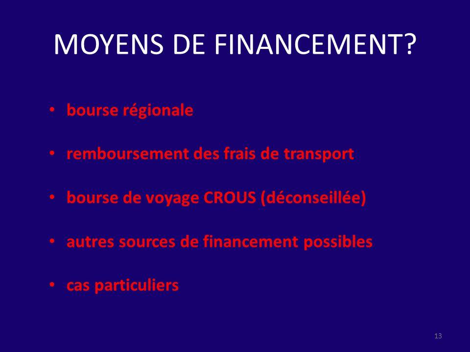 MOYENS DE FINANCEMENT bourse régionale