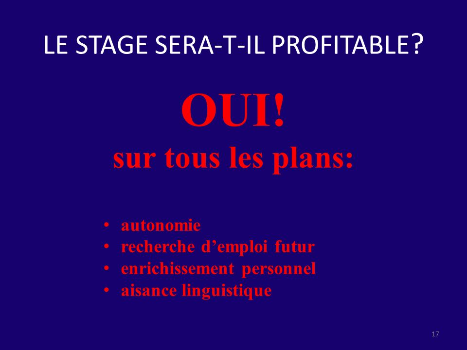 LE STAGE SERA-T-IL PROFITABLE