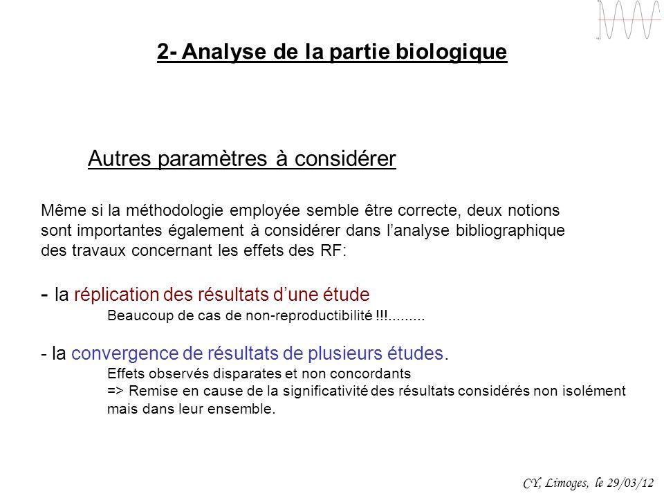 2- Analyse de la partie biologique