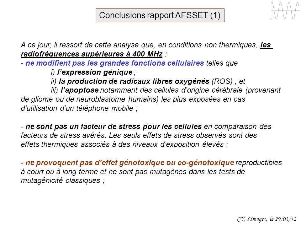 Conclusions rapport AFSSET (1)