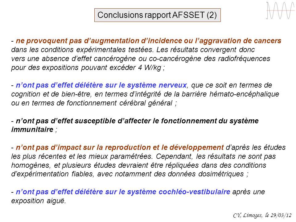 Conclusions rapport AFSSET (2)