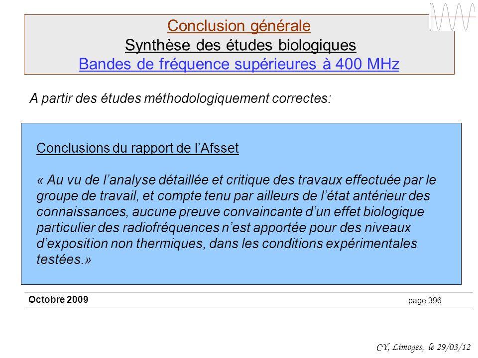 Conclusion générale Synthèse des études biologiques Bandes de fréquence supérieures à 400 MHz