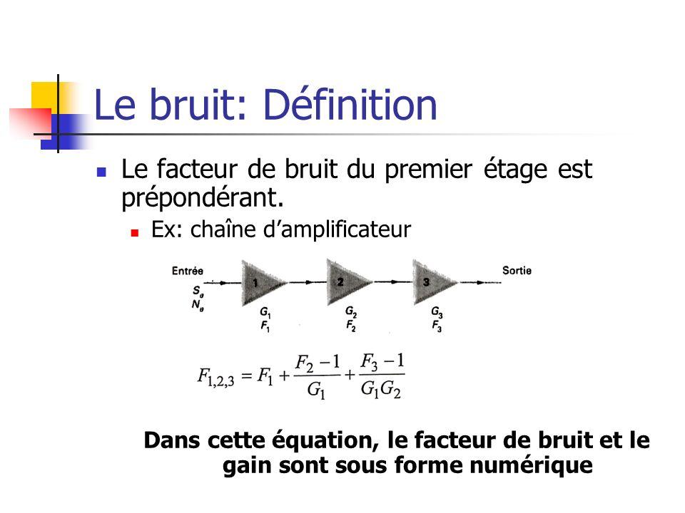 Le bruit: Définition Le facteur de bruit du premier étage est prépondérant. Ex: chaîne d'amplificateur.