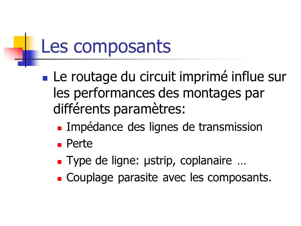 Les composants Le routage du circuit imprimé influe sur les performances des montages par différents paramètres: