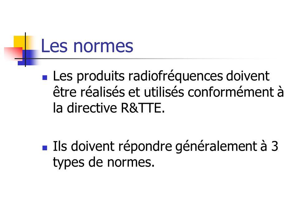 Les normes Les produits radiofréquences doivent être réalisés et utilisés conformément à la directive R&TTE.
