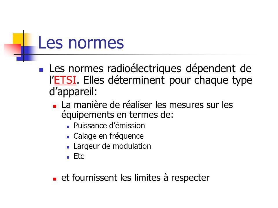 Les normes Les normes radioélectriques dépendent de l'ETSI. Elles déterminent pour chaque type d'appareil: