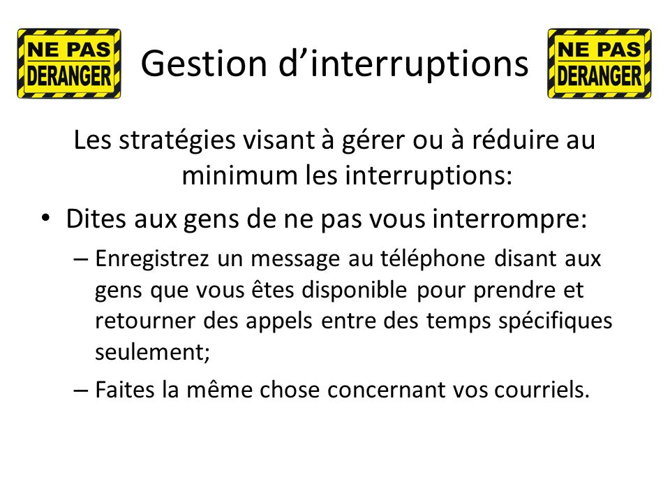 Gestion d'interruptions