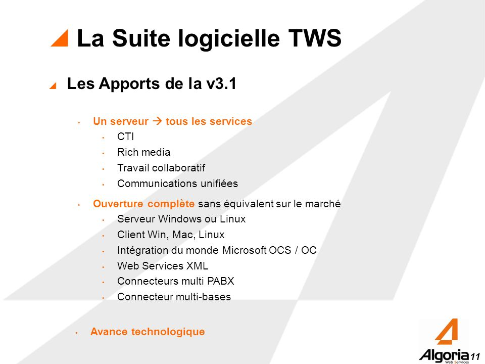 La Suite logicielle TWS