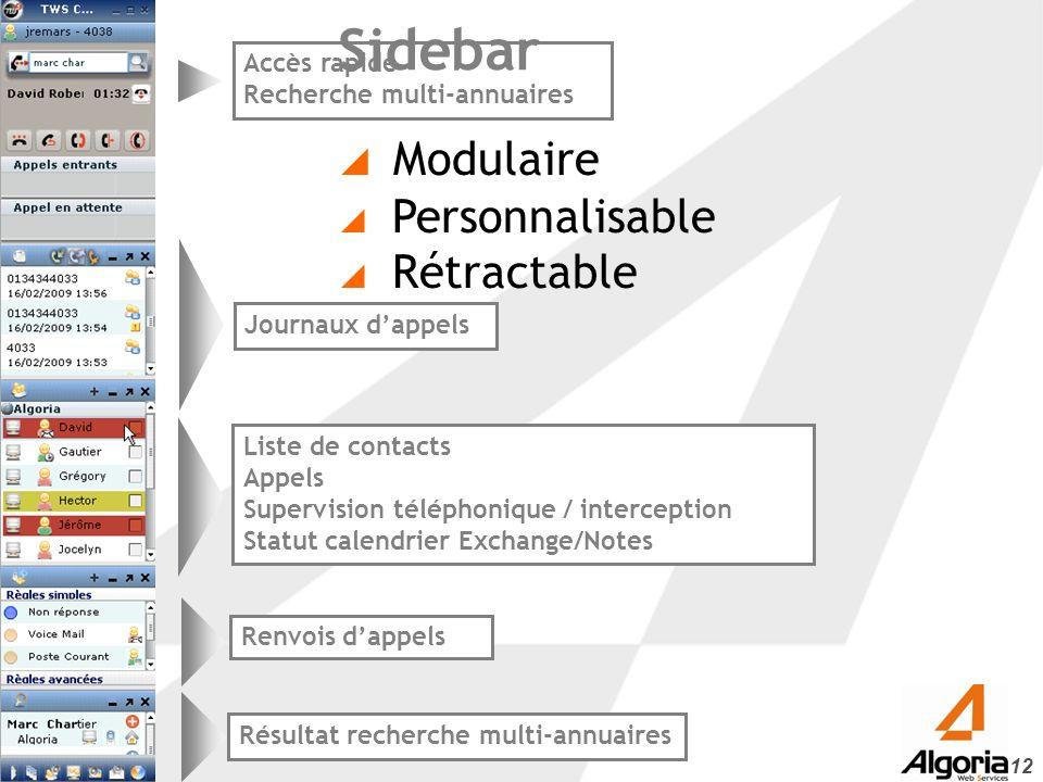 Sidebar Modulaire Personnalisable Rétractable