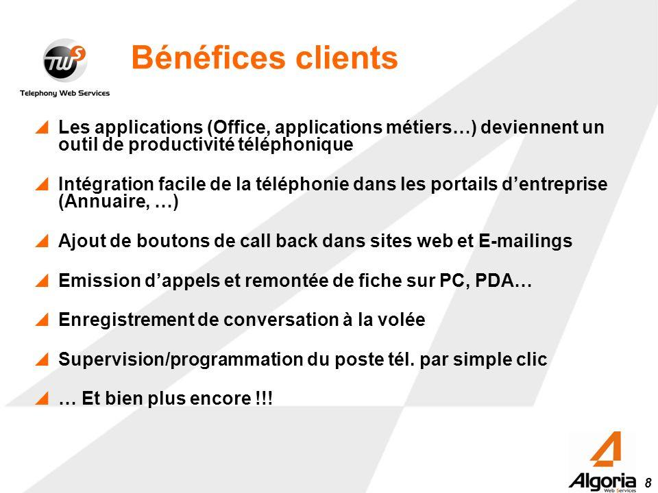 Bénéfices clients Les applications (Office, applications métiers…) deviennent un outil de productivité téléphonique.