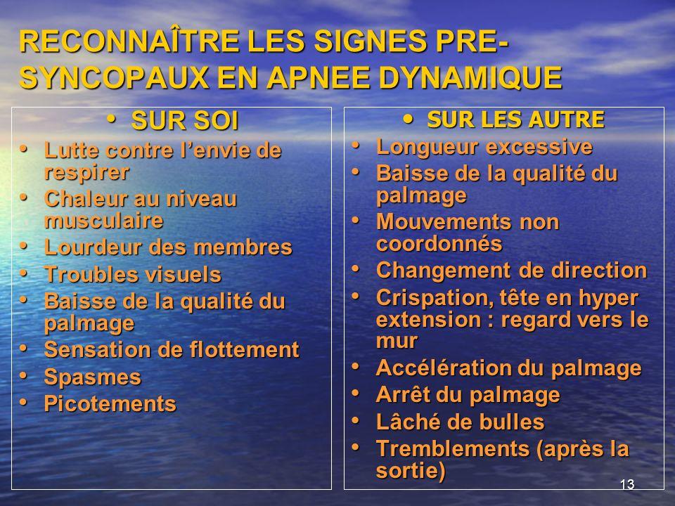 RECONNAÎTRE LES SIGNES PRE-SYNCOPAUX EN APNEE DYNAMIQUE