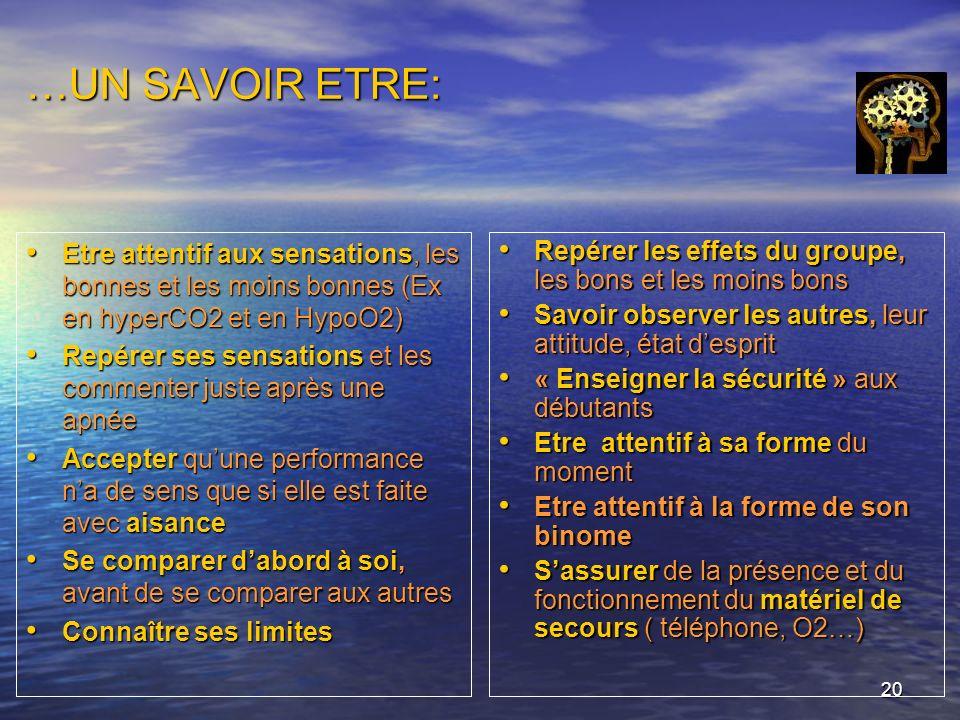 …UN SAVOIR ETRE: Etre attentif aux sensations, les bonnes et les moins bonnes (Ex en hyperCO2 et en HypoO2)