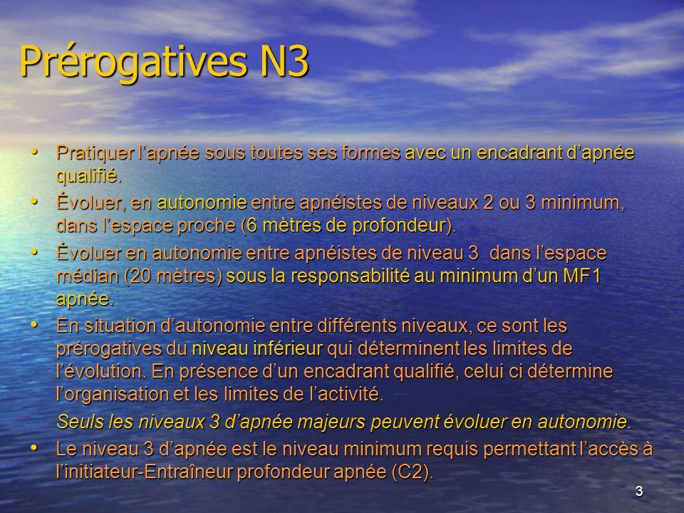 Prérogatives N3 Pratiquer l'apnée sous toutes ses formes avec un encadrant d'apnée qualifié.