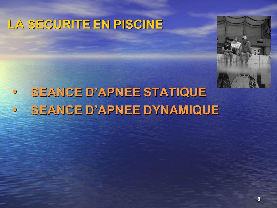LA SECURITE EN PISCINE SEANCE D'APNEE STATIQUE SEANCE D'APNEE DYNAMIQUE