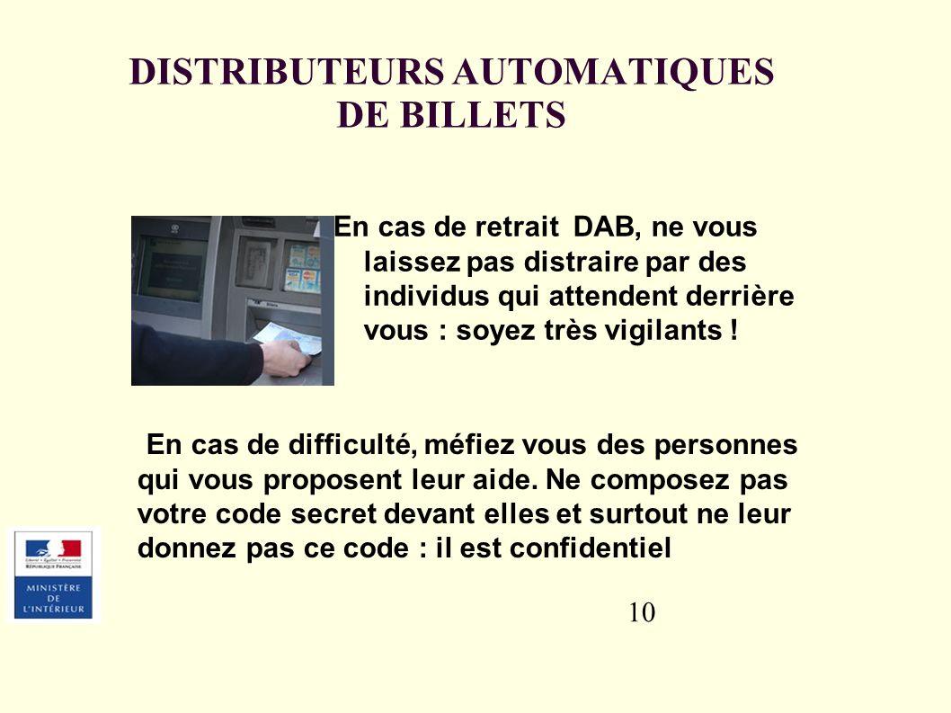 DISTRIBUTEURS AUTOMATIQUES DE BILLETS