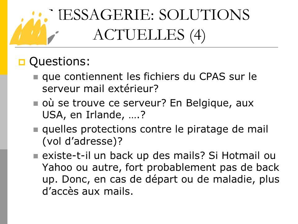 MESSAGERIE: SOLUTIONS ACTUELLES (4)