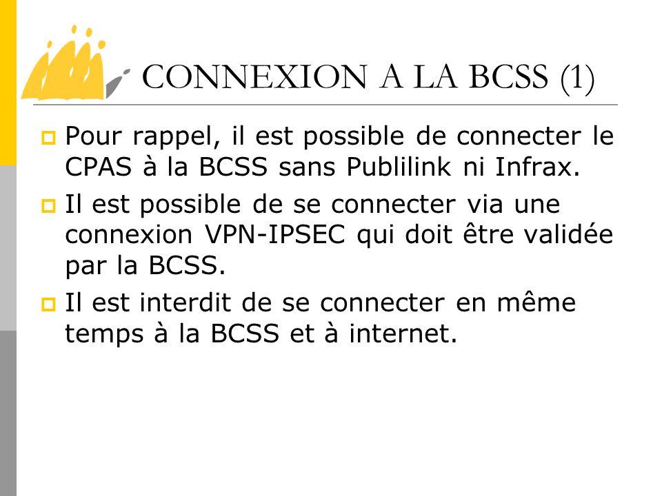 CONNEXION A LA BCSS (1) Pour rappel, il est possible de connecter le CPAS à la BCSS sans Publilink ni Infrax.