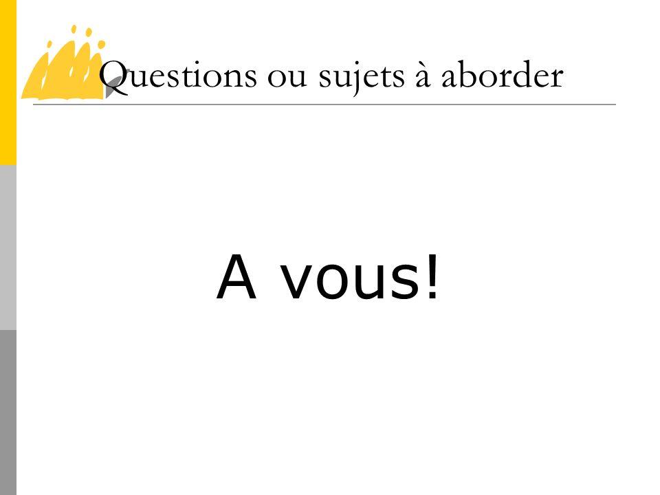 Questions ou sujets à aborder