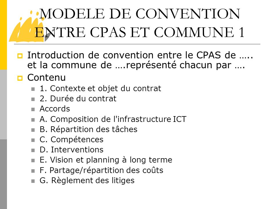 MODELE DE CONVENTION ENTRE CPAS ET COMMUNE 1