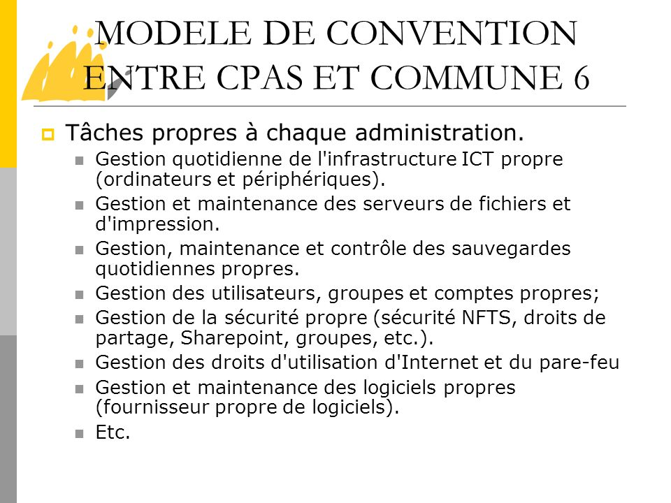 MODELE DE CONVENTION ENTRE CPAS ET COMMUNE 6