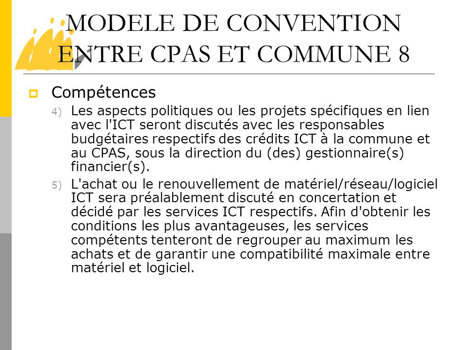 MODELE DE CONVENTION ENTRE CPAS ET COMMUNE 8