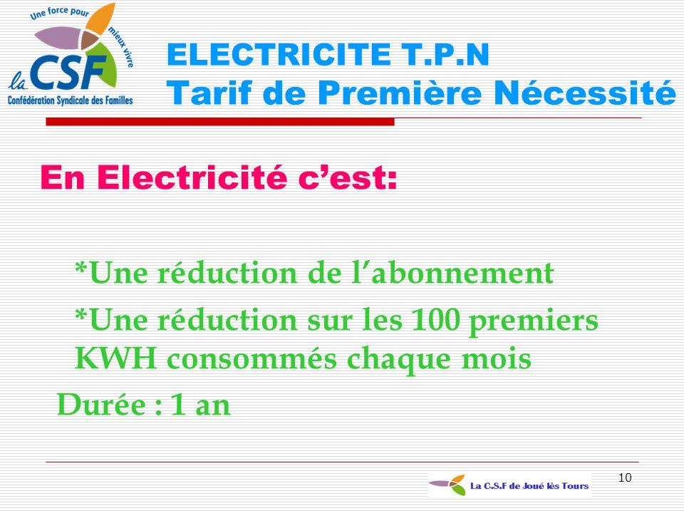 ELECTRICITE T.P.N Tarif de Première Nécessité