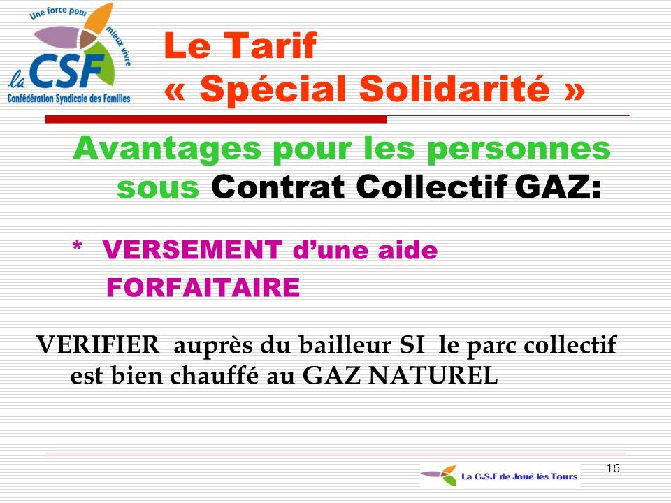 Le Tarif « Spécial Solidarité »