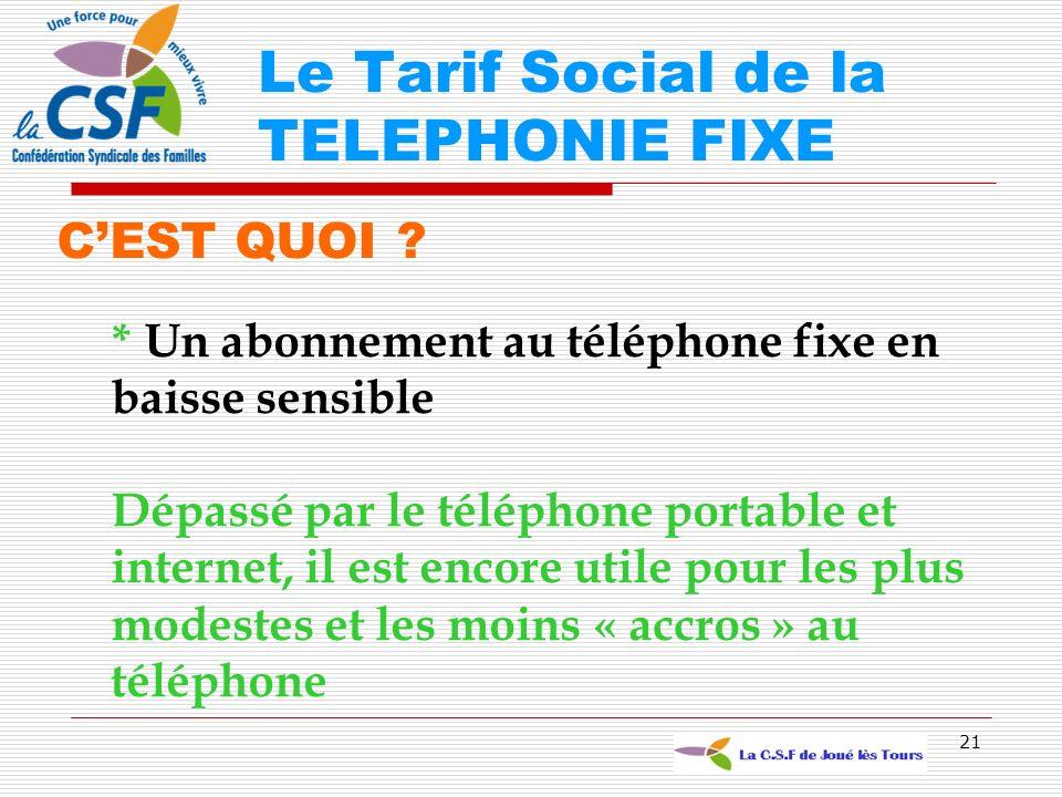 Le Tarif Social de la TELEPHONIE FIXE
