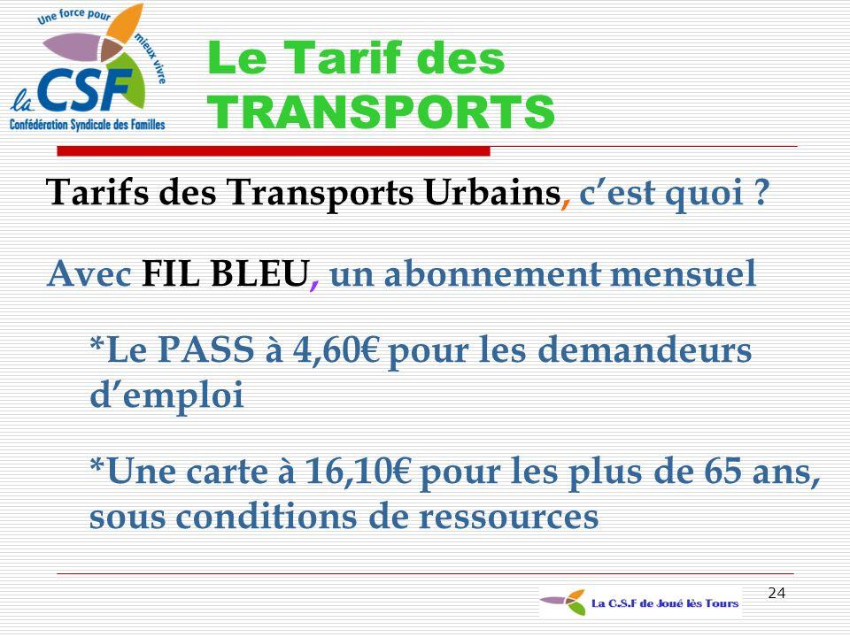 Le Tarif des TRANSPORTS