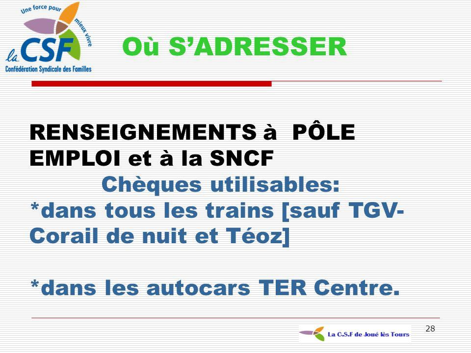 Où S'ADRESSER RENSEIGNEMENTS à PÔLE EMPLOI et à la SNCF