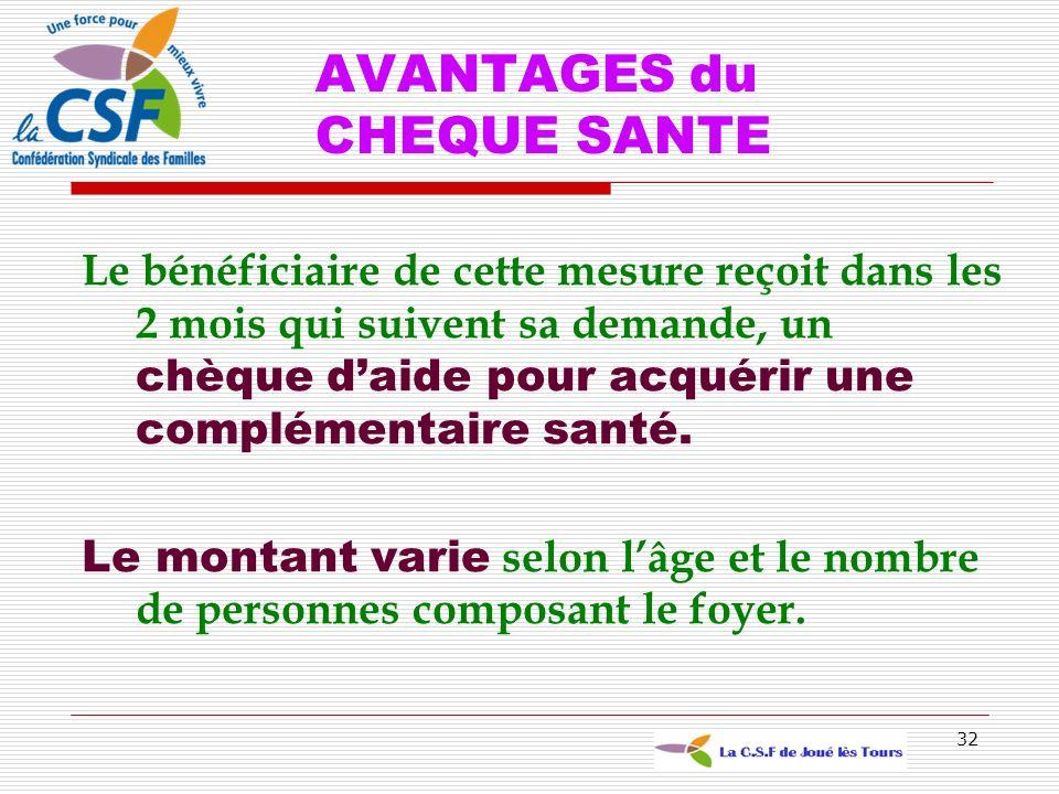 AVANTAGES du CHEQUE SANTE