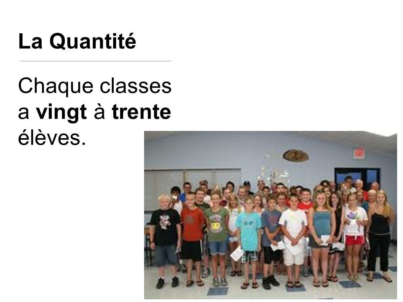 La Quantité Chaque classes a vingt à trente élèves.