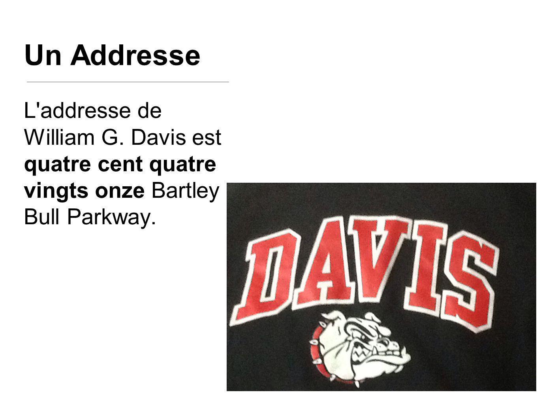 Un Addresse L addresse de William G. Davis est quatre cent quatre vingts onze Bartley Bull Parkway.